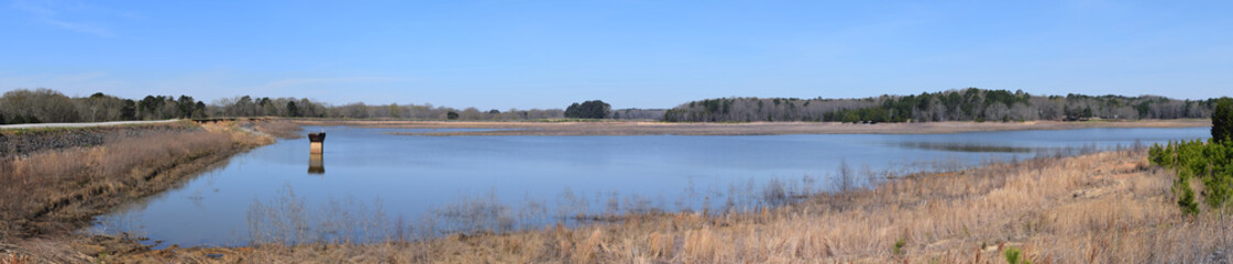 Lake and dam in Trace State Park, Mississippi