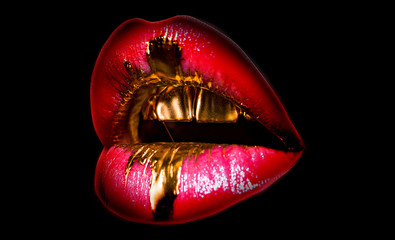 Tasty golden lips. Shiny sexy mouth. Expensive makeup, rich life. Mouth icon on black background. Lips full shape. Fashion isolated woman.
