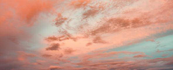 Exotic Teal Blue, Orange and Pink Sunset Sky