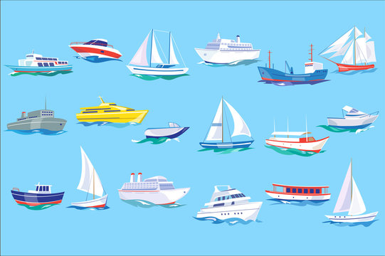 Sea ship, boat and yacht set, ocean or marine transport concept vector Illustration in flat style,