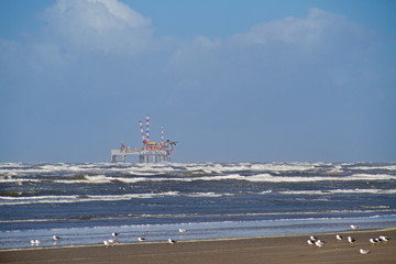 Offshore production platform near the Dutch island Ameland, beach, breaking waves and gulls in the foreground