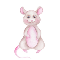 Watercolor illustration with cute rat