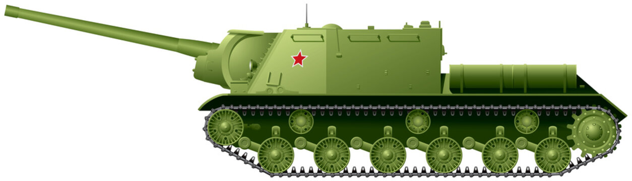 ISU-122 self-propelled artillery unit based on IS-2 Joseph Stalin Heavy Tank, Soviet assault gun used during WWII, mostly in the anti-tank role as tank destroyer against Germany Tiger and Panther