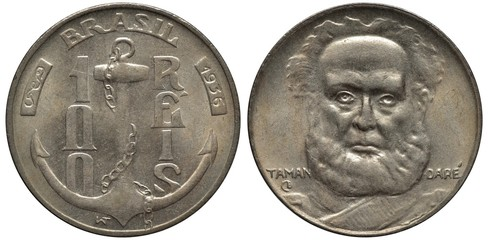 Brazil Brazilian coin 100 one hundred reis 1936, anchor with chain divides denomination, first native Brazilian Admiral Joaquim Marques Lisboa, Marquis of Tamandaré facing,