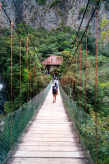 Girl walking over bridge in the forest
