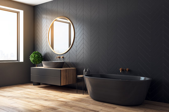 Modern black bathroom side