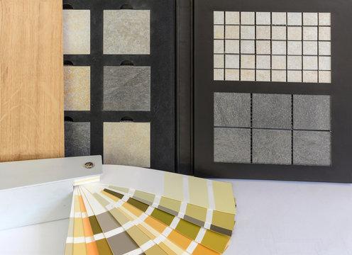 Muster Parkett, Naturstein, Fliesen, Holzdielen, Farben Farbkarte für Wohnung Innenausbau Arbeiten