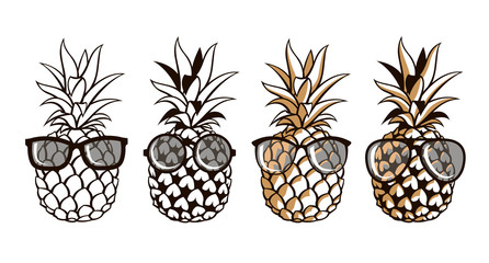 collection of pineapple with glasses isolated on white background