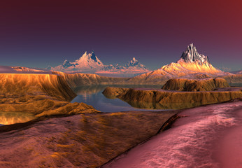 Canvas Prints Bordeaux 3D Rendered Fantasy Mountain Landscape - 3D Illustration