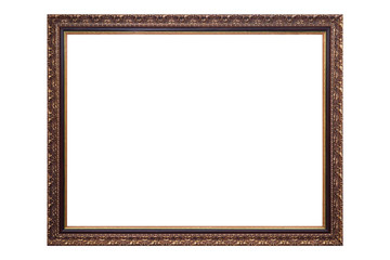 Gold antique picture frame isolated on white background, clipping path.