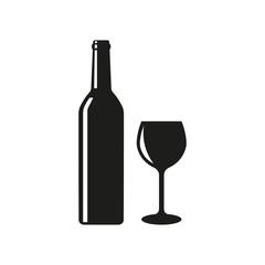 Wine bottle glass icon. Vector illustration. Isolated.