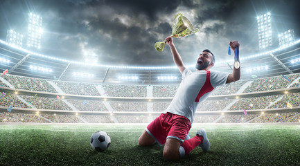 Soccer. Professional soccer player celebrates winning of soccer match the open stadium. Soccer player holds a cup and a medal in his hands.