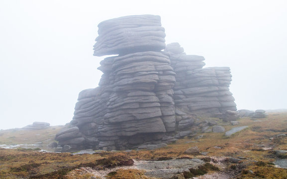 Layered rock sits on the peak of Slieve Binnian in the Mourne Mountains, Northern Ireland, UK.