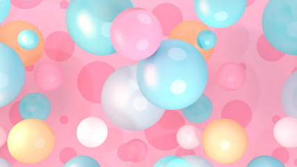 Stylish pink and turquoise balls background. 3d rendering picture.