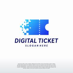 set of Pixel Tech logo designs concept, Digital Ticket