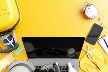 Wall Mural - Top view laptop with traveler accessories on yellow background. travel concept. 3d rendering