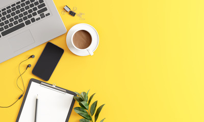 Top view yellow office desk with laptop, coffee, smartphone and accessories .3d rendering