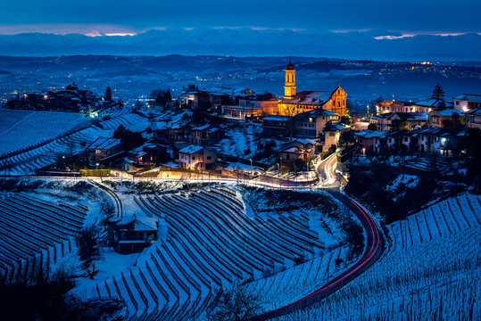 Wide angle panorama of Langhe hills near Treiso in winter.