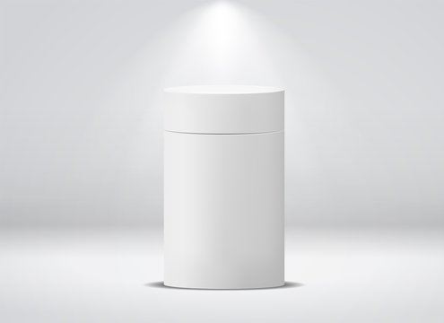 Cylinder package. White round empty paper box for food soup tea coffee vector isolated canister mockup