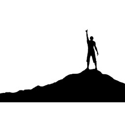 Man with raised up hand standing on the mountain, simple design