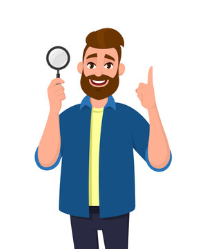 Cheerful bearded young man holding/showing magnifying glass and pointing hand finger up. Search, find, discovery, analyze, inspect, investigation concept illustration in vector cartoon flat style.