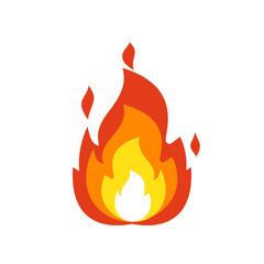Fire flame icon. Isolated bonfire sign, emoticon flame symbol isolated on white, fire emoji and logo vector illustration