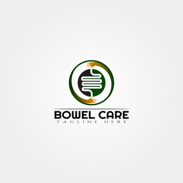 intestine care logo design vector, bowel logo,medical icon