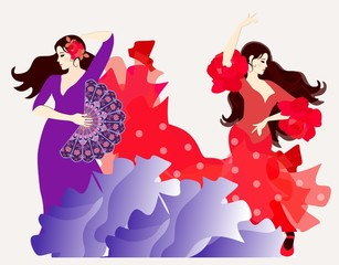 The element of fire and the element of water. Two Spanish or Gypsy girls dressed in long dresses dancing flamenco.