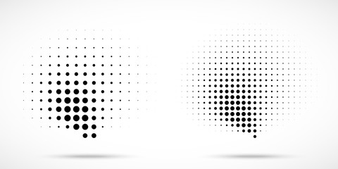 Halftone dots curved gradient pattern texture isolated on white background set. Curve dotted spots using halftone circle dot raster texture collection. Vector blot half tone illustration.