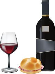 panino con il salame e bicchiere  di vino