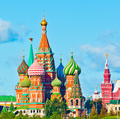 Fotobehang Aziatische Plekken The Cathedral of Vasily the Blessed (Saint Basil's Cathedral). Red Square. Moscow. Russia. Sunny day
