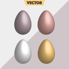 Pastel metal colors simple 3D Vector Easter Eggs