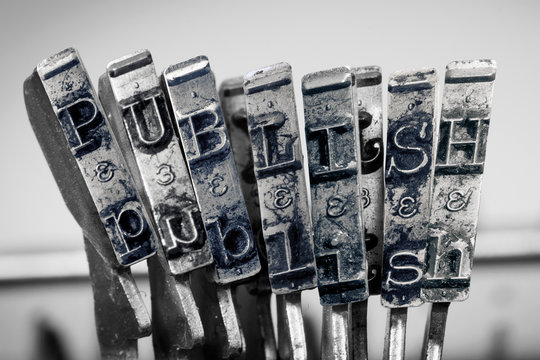the word  PUBLIISH with old typewriter 1