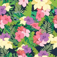 Floral pattern with tropical flowers and leaves