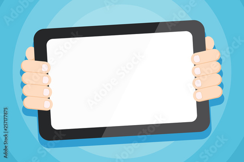Color Tablet Smartphone With Blank Screen Handheld From The Back Of