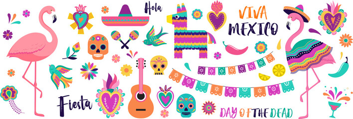Mexican symbols, icons and illustrations. Vector collection of colorful design for Cinco de Mayo, Fiesta and Day of the dead