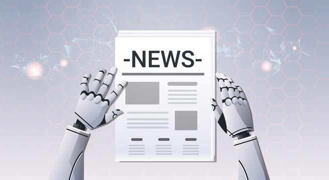 robot hands holding newspaper humanoid reading daily news top angle view artificial intelligence digital futuristic technology concept horizontal