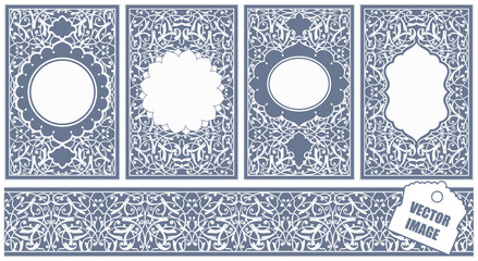 Oriental vector ornament used to decorate frames and borders, in blue colors. Useful content for print and designers. Can be used as a holiday card.