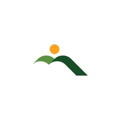 natural green mountain and sun landscape icon logo
