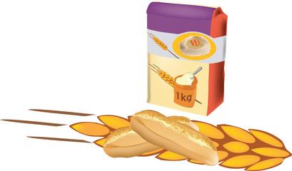 sacchetto di farina con pane