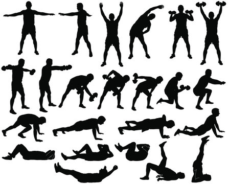 Big set of vector silhouettes of man doing fitness and sport workout isolated on white background. Icons of sportive boy practicing exercises in different positions. Active and healthy life concept.