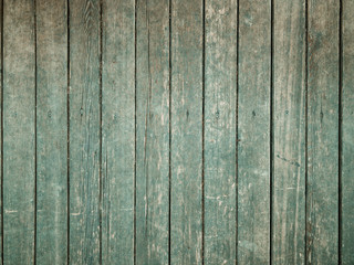 Background of old wooden vintage texture boards painted with green paint.