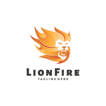 Modern Gradient Color of Lion Leo and Fire Flame Logo Icon Vector