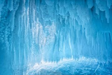 Inside the blue ice cave at Lake Baikal, Siberia, Eastern Russia.