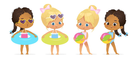 Happy Pool Party Multiracial Girl Character Set