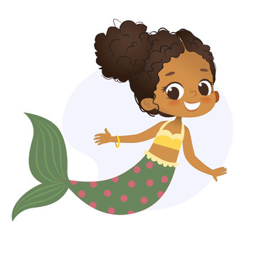 Mermaid Afro Character Mythical Girl Little Nymph