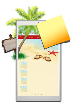 Isolated smartphone with seascape on the screen . Vacation or travel. Usefull for baner. Vector, EPS 10