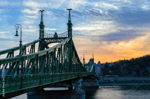 Wall mural Liberty bridge at sunset in Budapest, Hungary