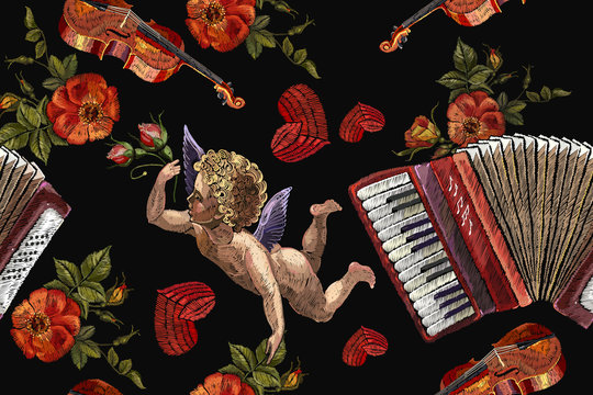 Embroidery angels, accordion and roses flowers seamless pattern. Violin and red heart. Music art. Template for clothes, t-shirt design