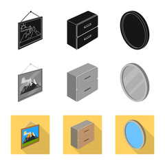 Isolated object of bedroom and room logo. Set of bedroom and furniture vector icon for stock.